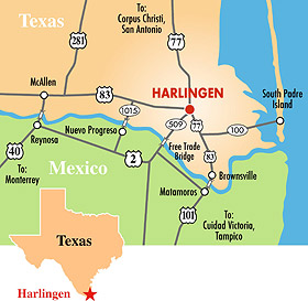 Texas Map Harlingen